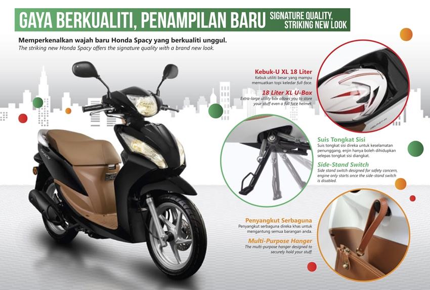 Fitur tambahan di Honda Spacy helm-in facelift