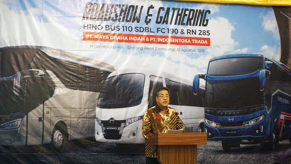 Sambutan Hiroo Kayanoki dalam acara Hino Roadtest RN Bus, FC Bus, Microbus 110 SDBL di Bandung