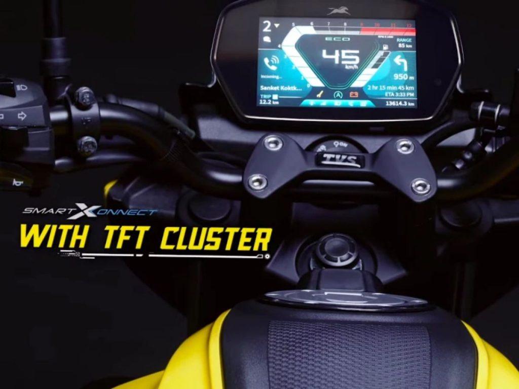 Layar TFT teknologi TVS Raider terbaru